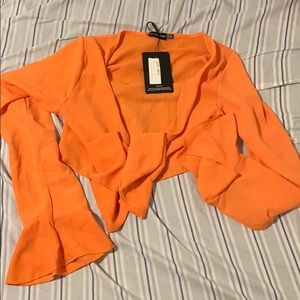 Tangerine Tie Bell Sleeve Blouse | PLT